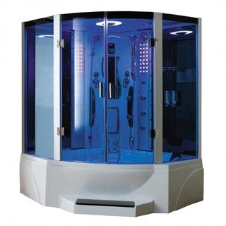 Luxury 2-person Corner Steam Shower with Jetted Massage Tub, Bench Seating for Two, FM Radio with MP3 and Dual Shower Wands