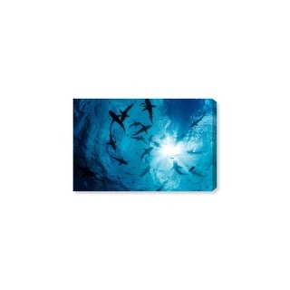 Oliver Gal 'Gray Reef Shark Group by David Fleetham' Animals Wall Art Canvas Print - Blue, Black