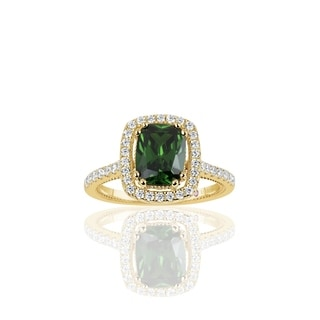 Suzy Levian Golden Sterling Silver Elongated Cushion Cut Green Cubic Zirconia Solitaire Engagement Ring