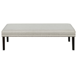 Linen Upholstered Bed Bench with Nail Head Trim