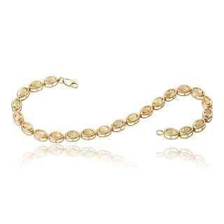 Avanti 14K Yellow Gold Oval Citrine Bezel Set Tennis Bracelet
