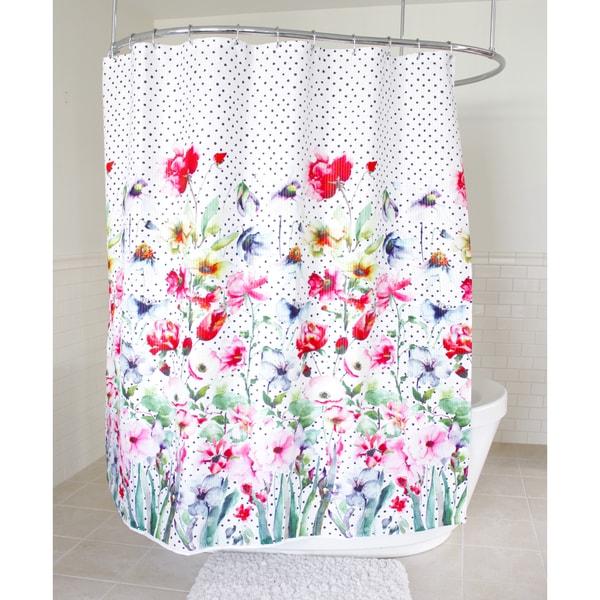 Splash Home Bonita Floral Fabric Shower Curtain