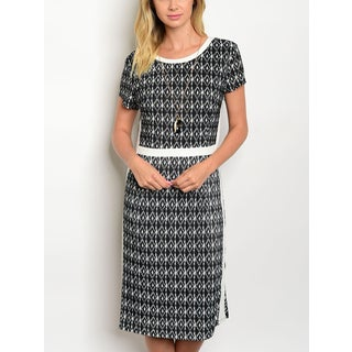 JED Women's Short Sleeve Printed Knee-Length Casual Dress with Necklace