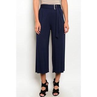 JED Women's Soft Fabric Buckle Waist Capri Pants