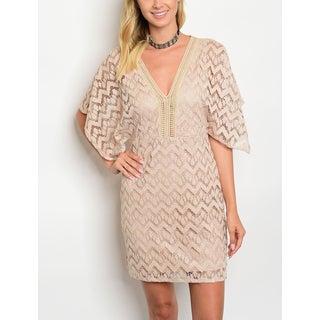 JED Women's Flutter Sleeve V-Neck Lace Dress