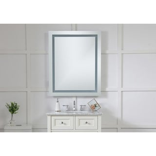 "4 Sides LED Hardwired Mirror Rectangle W32""H40"" Dimmable 3000K"