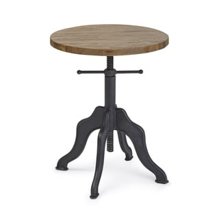 Progressive Sadie Brown and Black Metal and Wood Round Adjustable Accent Table