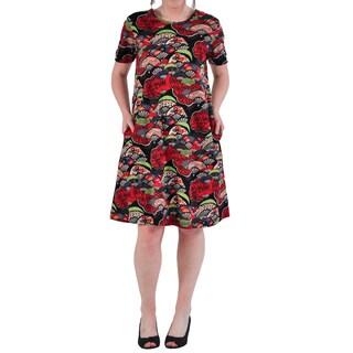 La Cera Women's Short Sleeve Printed Knit Dress