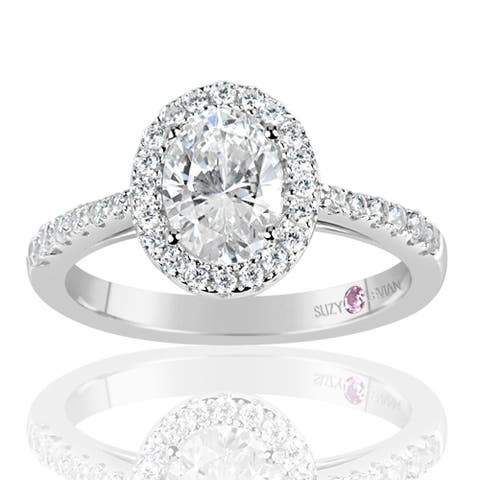 Suzy L. Sterling Silver Oval Cut White Cubic Zirconia Solitaire Engagement Ring