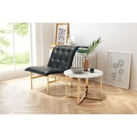 Globe Goldtone Marble Stainless Steel End Table