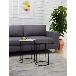 Zuo Brighton Black/ White Aluminum Accent Table