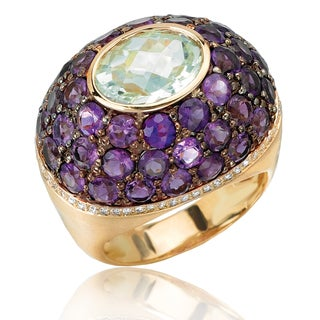 Avanti 18K Yellow Gold 1/5 CT TDW Diamond and Green Amethyst Center Amethyst Pave Domed Fashion Statement Ring (G-H, SI1-SI2)