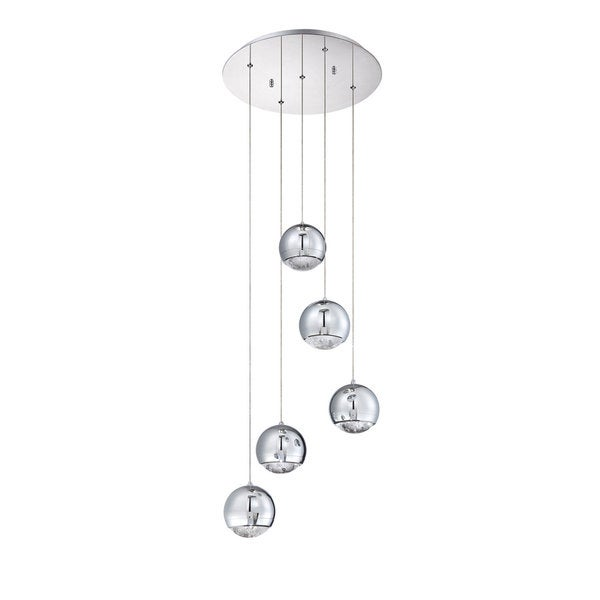 Spumante Series Metal and Glass Chrome Finish 5-Light Pendant