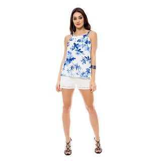 Sara Boo Blue Floral Top with Embellished Straps