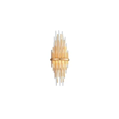 Theory LED Gold Leaf Tall Wall Sconce with Polished Stainless Accents