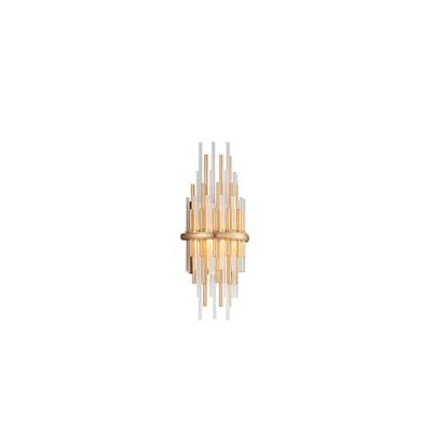 Theory LED Gold Leaf Short Wall Sconce with Polished Stainless Accents