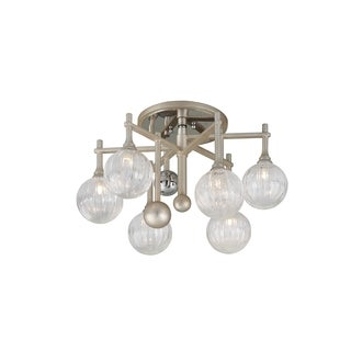 Corbett Lighting Majorette 6-light Silver Leaf Semi-Flush with Polished Chrome Accents
