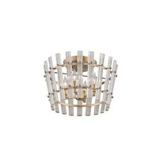 Corbett Lighting Sauterne 4-light Gold Leaf Semi-Flush with Polished Stainless Accents