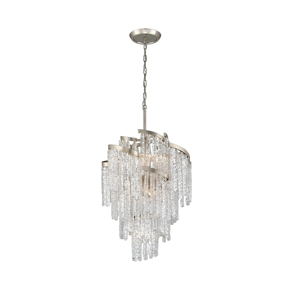 Corbett Lighting Mont Blanc 9-light Modern Silver Leaf Chandelier