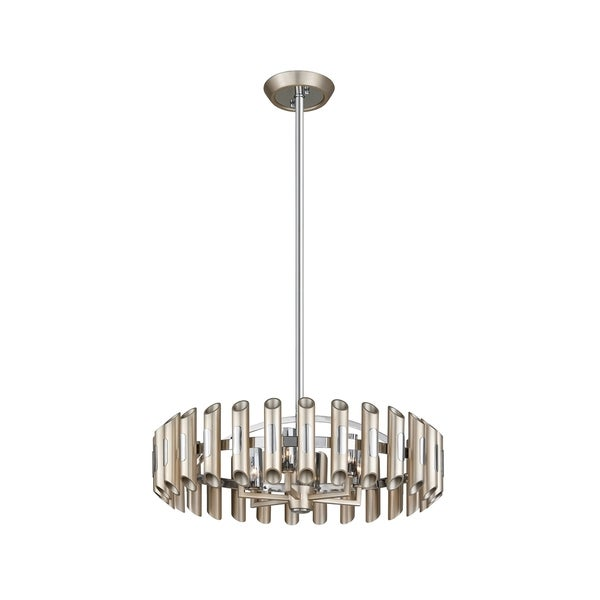 Corbett Lighting Arpeggio 6-light Antique Silver Leaf Pendant with Polished Stainless Accents