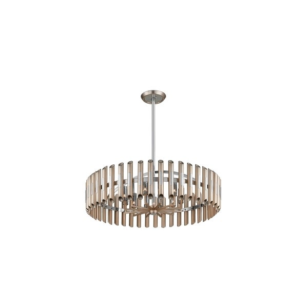Corbett Lighting Arpeggio 12-light Antique Silver Leaf Pendant with Polished Stainless Accents
