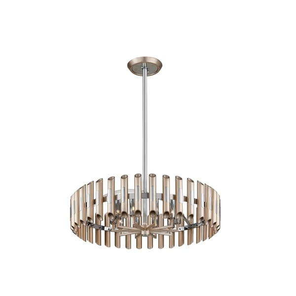 Corbett Lighting Arpeggio 10-light Antique Silver Leaf Pendant with Polished Stainless Accents