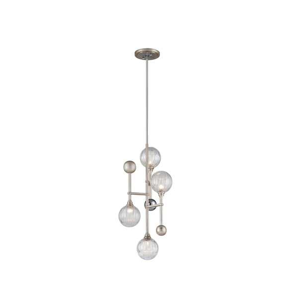 Corbett Lighting Majorette 4-light Silver Leaf Pendant with Polished Chrome Accents