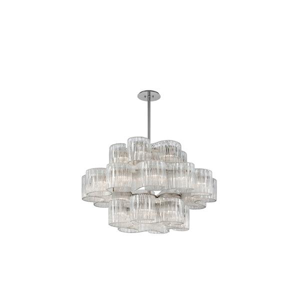 Corbett Lighting Circo Satin Silver Leaf Glass Shade 24-light Pendant