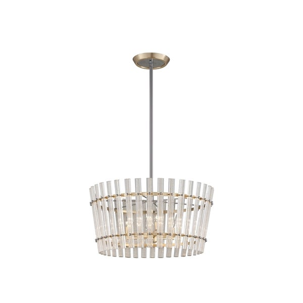 Corbett Lighting Sauterne 6-light Gold Leaf Dining Pendant with Polished Stainless Accents