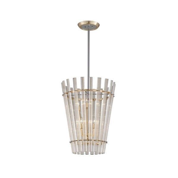 Corbett Lighting Sauterne 6-light Gold Leaf Pendant with Polished Stainless Accents