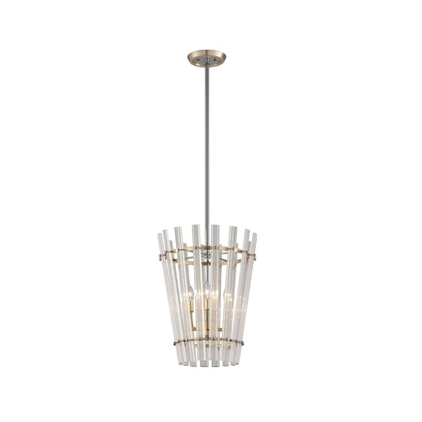 Corbett Lighting Sauterne 4-light Gold Leaf Pendant with Polished Stainless Accents