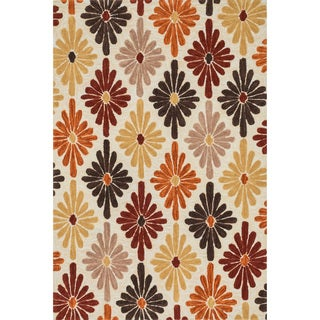 Hand-hooked Camellia Ivory/ Spice Rug (2'3 x 3'9)