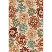 Hand-hooked Camellia Multi Rug - 3'6 x 5'6