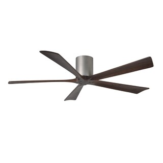 Matthews Fan Company Irene-H 5-blade 60-inch Brushed Brushed Nickel Hugger Paddle Fan with Walnut Tone-blades