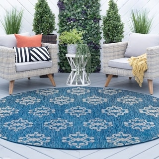 Tayse Rugs Alise Rugs Colonnade Indigo Round Transitional Area Rug (7'10 x 7'10)