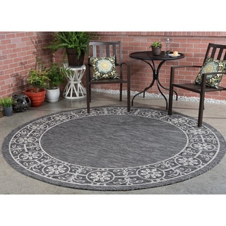 Alise Rugs Colonnade Traditional Border Round Area Rug - 7'10 x 7'10