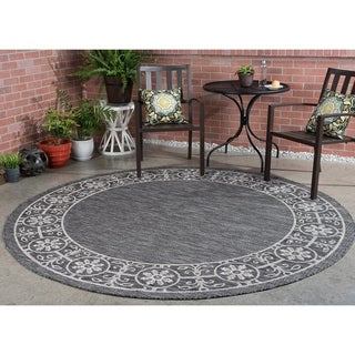 Tayse Rugs Colonnade Black Traditional Round Area Rug (7'10 Round)