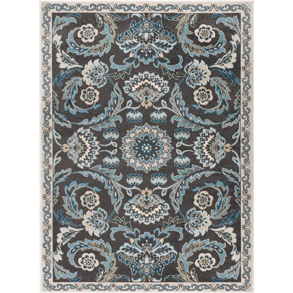 Alise Rugs Parker Transitional Navy Floral Area Rug (7'10 x 10'3)