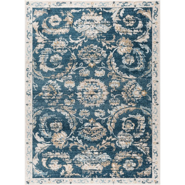 Shop Alise Rugs Parker Transitional Navy Cream Floral Area Rug
