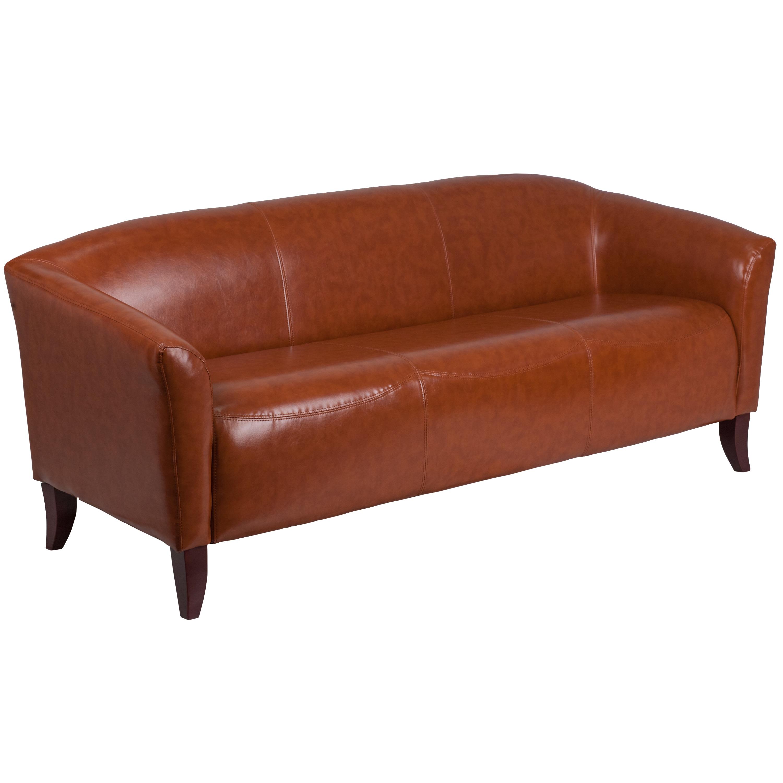 Allison Contemporary Cognac (Red) Leather Sofa (Bonded Le...