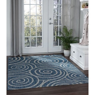 Alise Colonnade Indigo Transitional Area Rug (7'10 x 10'3)