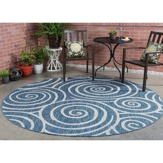 Alise Colonnade Indigo Blue Transitional Round Area Rug