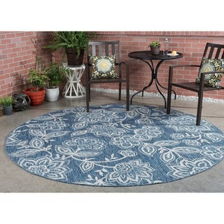 Alise Rugs Colonnade Indigo Transitional Round Area Rug (7'10 x 7'10)