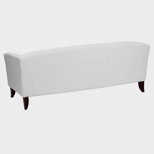 Allison Contemporary White Leather Sofa