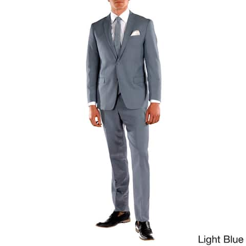 Ferrecci Mens Stunning Solid Color Slim Fit 2 Piece Suit