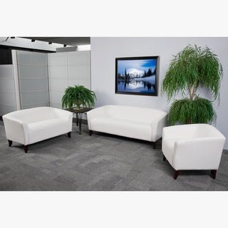 Allison Contemporary White Leather 3 Piece Living Room Set
