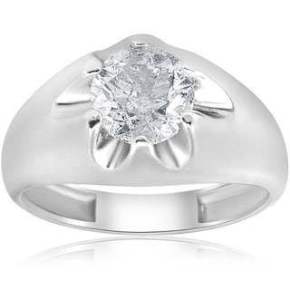 14k White Gold 1 1/2 ct TDW Diamond Clarity Enhanced Mens Belcher Ring (H-I,I1-I2)