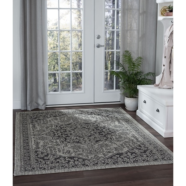 Alise Rugs Colonnade Traditional Black Area Rug