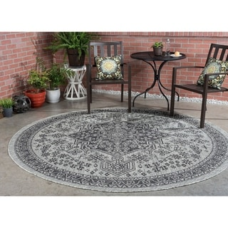 Alise Rugs Colonnade Black Traditional Area Rug (7'10'' Round)