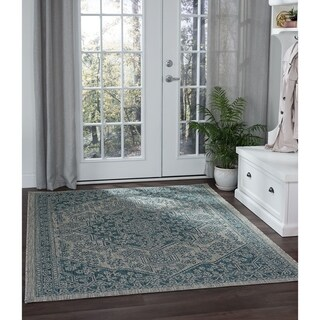 Alise Rugs Colonnade Traditional Medallion Area Rug - 53 x 73 (Teal)